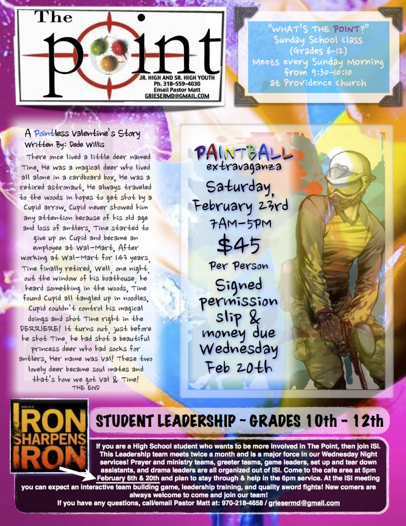 Providence Church Calendar The Point Youth Group FEB Newsletter Page 1